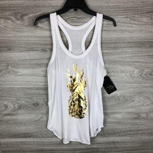 133fca7e0ab2e0 ... Knit Midi Skirt Moa Moa Pattern Top Size Medium Chaser White Gold  Pineapple Racerback Tank Top ...